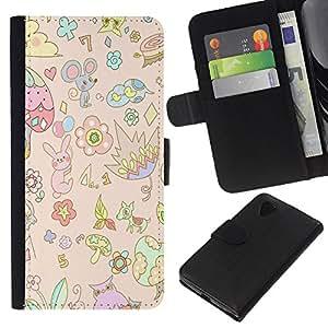 KingStore / Leather Etui en cuir / LG Nexus 5 D820 D821 / Souris enfants enfants Art