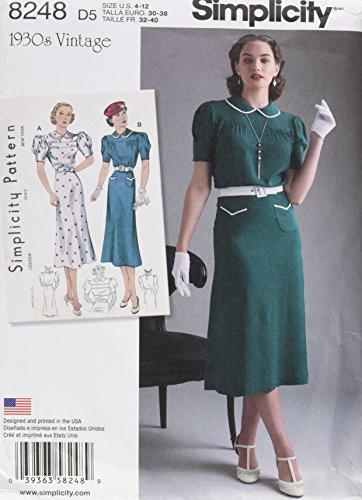 Patterns For Vintage Dresses (Simplicity Pattern 8248 D5 Misses' Vintage 1930s Dresses, Size D5 (4-6-8-10-12))
