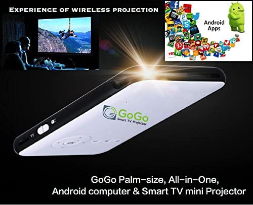 GoGo Smart TV Mini -Proyector, Android Sistema operativo PC. 30,000 Horas de Vida LED, portátil de Bolsillo película y Entretenimiento Home Theater con Aplicaciones precargadas: Amazon.es: Bricolaje y herramientas