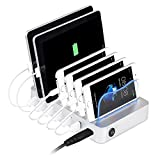 Multi Devices Charging Station, PRITEK Smart IC 6 USB Charger Station with Detachable Baffles for Different Thickness USB Enabled Gadgets iPhone Tablets Power Banks