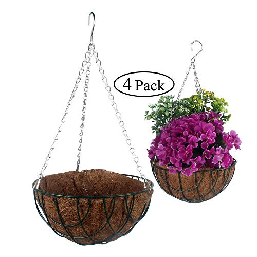 GLEAF Metal Hanging Planter Basket with Coco Coir Liner10 Inch Green Metal Round Wire Plant Holder with Chain Porch Flower Pots for Indoor Outdoor DecorationSet of 4
