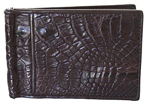 Alligator Money Clip - Authentic M Crocodile Skin Men's Money Clip Belly Leather Wallet Dark Brown