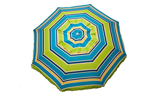 DestinationGear 1375 Lime Green and Blue Stripe 7 feet Beach Umbrella with Tilt and Travel Bag ()
