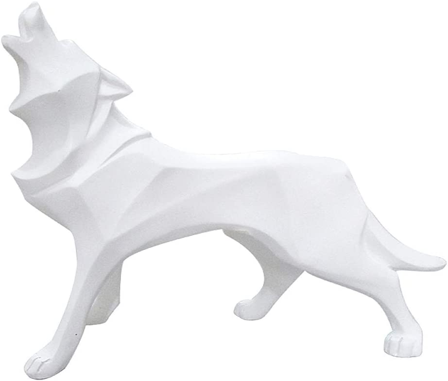 Sculpture/Statue Geometric Modern Resin Wolf Decor for Home Bookcase Shop Window Wolf-White