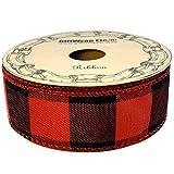 "Red Black Buffalo Check Ribbon - 1 1/2"" x 10"