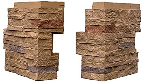 NextStone Stacked Stone Outside Corner Sandy Buff 4 Pack - Faux Stone Siding