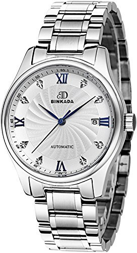 BINKADAメンズ自動機械ビジネスカジュアル防水Watch for Mens Watches Stainless Steel-White Dial B011VFP33G Stainless Steel-White Dial Stainless Steel-White Dial