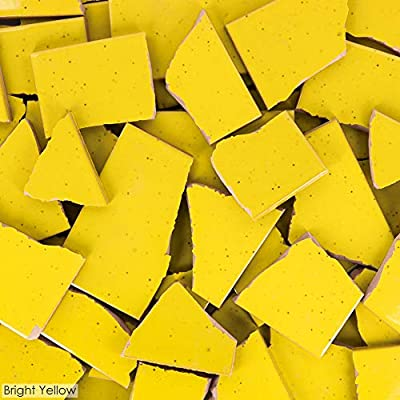 5 Pounds of Broken Talavera Mexican Ceramic Tile in Bright Yellow Solid Color