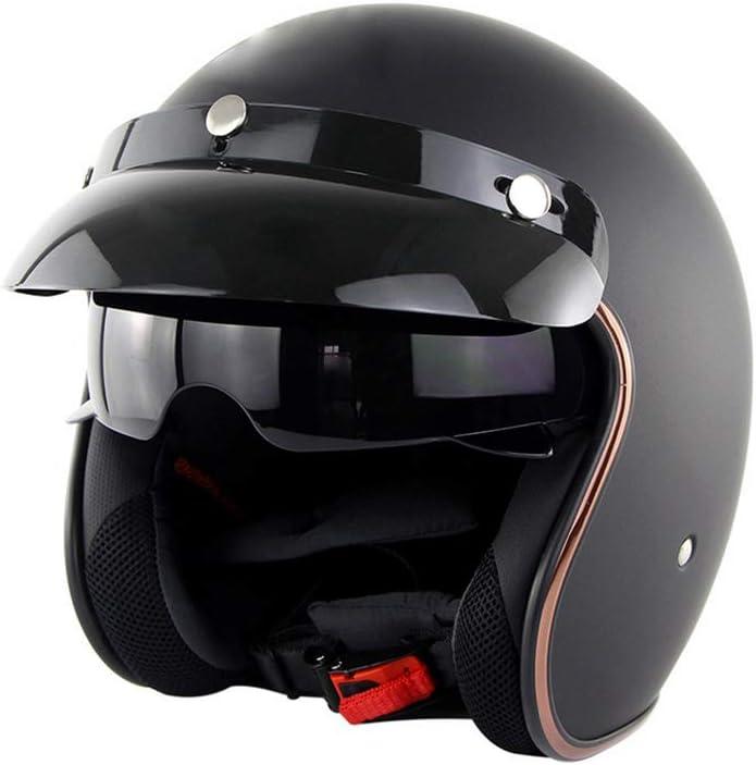 Retro Casco Abierto de la Cara del Casco de la Motocicleta Casco Ligero y Transpirable de protecci/ón UV Motor Casco Matt Negro XL Tap/ón de Seguridad