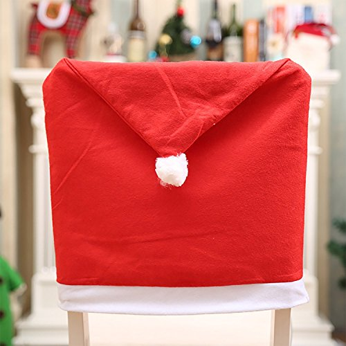 YEJOY Santa Clause Red Hat Chair Cover Christmas Thanksgiving Corn Pumpkin Turkey Dining Chair Back Cover Slipcovers Decoration