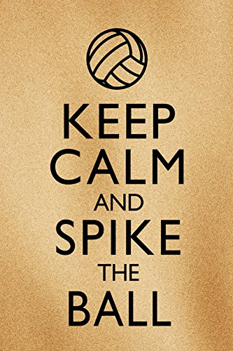 Keep Calm and Spike the Ball Beach Volleyball Plastic Sign 12 x 18in