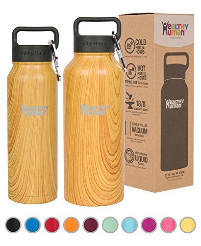 Healthy Human Double Walled Insulated Stainless Steel Water Bottle Thermos with Carabiner - Golden Oak - 32 oz