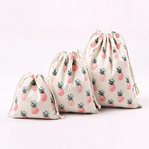Storage Bag Drawstring Beam Travel Printing Port Bag Gift Vibola Bag Pineapple Canvas ntq6wpxPY
