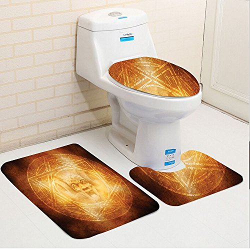 Keshia Dwete three-piece toilet seat pad customHorror Demon Trap Symbol Logo Ceremony Creepy Ritual Fantasy Paranormal Design Orange by Keshia Dwete
