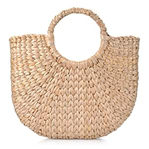 Hand-Woven Straw Handbag Round Handle Ring Toto Retro Casual Summer Beach Bags