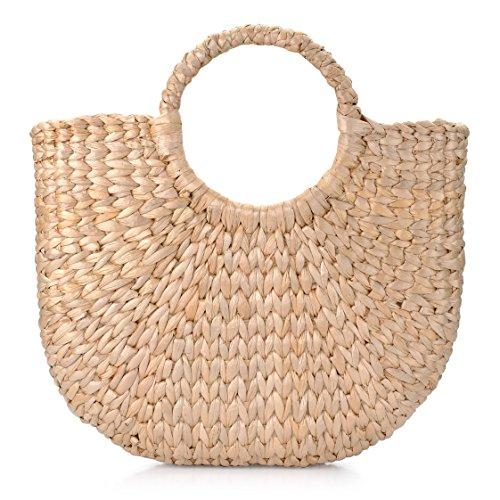grandes de ocasionales mano del de retros manija a la Bolsas elegante la mujeres playa la Manija de Natural redonda las tejida del anillo verano paja de wngIZxa0qf