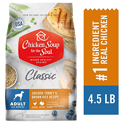 CHICKEN SOUP FOR THE SOUL Adult Dog Food, Chicken, Turkey & Brown Rice Recipe, 4.5 lb. Bag | Soy Free, Corn Free, Wheat Free | Dry Dog Food Made with Real Ingredients