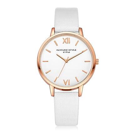 Xinantime Relojes Mujer,Xinan Reloj de Pulsera Reloj Redondo Cuero Imitación (Blanco)