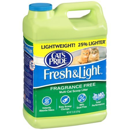 Cat's Pride Fresh & Light Premium Clumping Fragrance-Free Scoopable Cat Litter (3 Case - 15 lb)