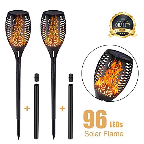 Walensee Solar Lights Outdoor Upgraded, Waterproof Flickering Flames Torch Lights Outdoor Solar Spotlights Landscape Decoration Lighting 96 LED Dusk to Dawn Auto On/Off Security Torch Light