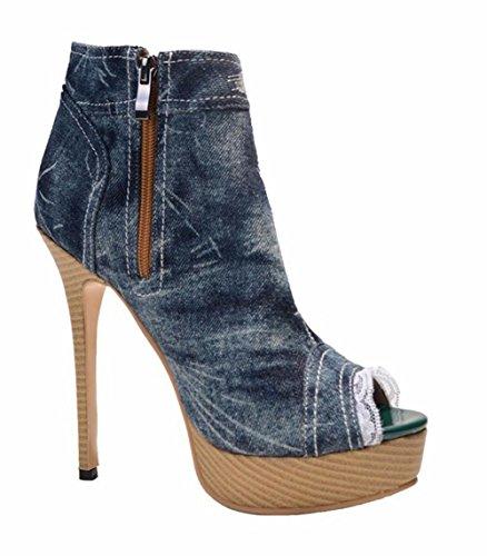Stiletto Sandales Femmes Chaussures Bottes Talon Été Poisson Denim Bouche Haut Lace Cheville BLUE EUR39UK665 Printemps Automne NVXIE de qwIEdxgg