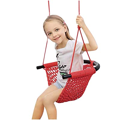 Kids Swing Seat High Back Full Bucket Swing Adjustable Ropes Heavy Duty Rope Play Children Swing and Heavy-Duty Swing Seat with Carabiners (Red)
