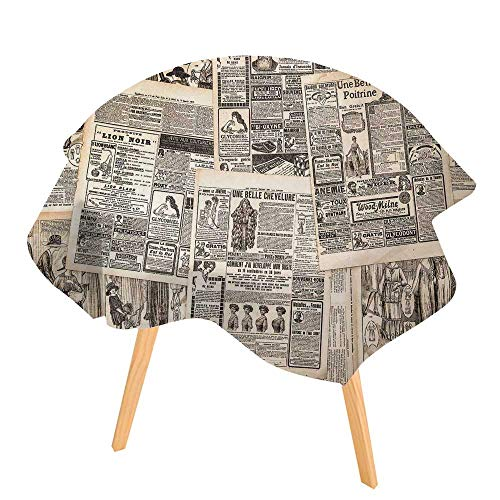 (PINAFORE 100% Polyester Printed Table Retro Vintage French Newspaper Nostalgic Antique DatedPast ful Design Cream Tan Taupe for Hotel for Home, Restaurants, Cafés 47.5