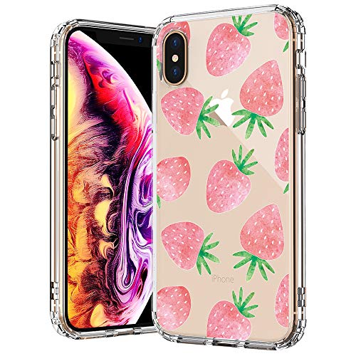 MOSNOVO Fashion iPhone Xs MAX Case, Cute Strawberry Pattern Printed Clear Design Transparent Plastic Back Case with TPU Bumper Protective Case Cover for iPhone Xs - Case Strawberry Cell Phone