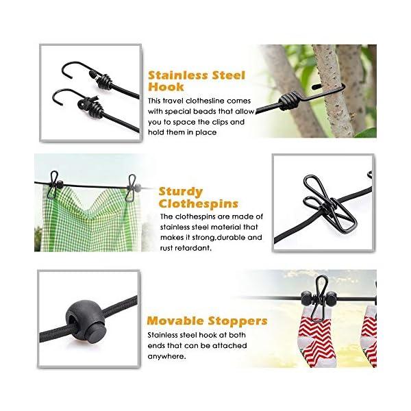 2 Stück Wäscheleine,Jusduit Camping Wäscheleine Reise Outdoor 185-360cm,Flexible Wäscheleine Tragbar Elastische mit 12…