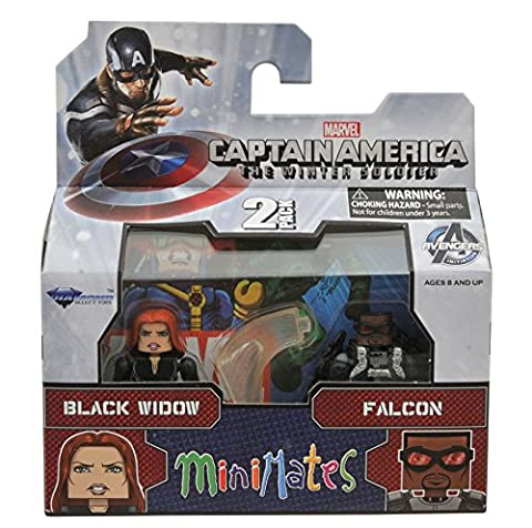 Diamond Select Toys Marvel Minimates Series 55 Captain America The Winter Soldier Black Widow & Falcon Action Figure (Marvel Minimate Black Widow)