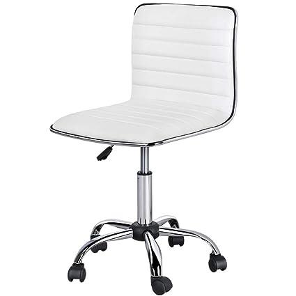 Phenomenal Amazon Com Topeakmart Pu Leather Low Back Armless Desk Creativecarmelina Interior Chair Design Creativecarmelinacom
