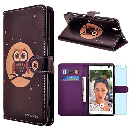 Sony Xperia C4 Case,INNOVAA Premium Leather Wallet Case with STAND Flip Cover W/ Free Screen Protector & Touch Screen Stylus Pen - Owl