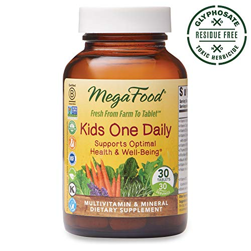 MegaFood, Kids One Daily, Daily Multivitamin and Mineral Dietary Supplement with Vitamins, C, D and Folate, Non-GMO, Vegetarian, 30 Tablets (30 Servings) (FFP)