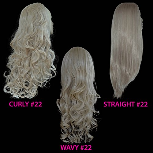 """22"""" Ladies 3/4 WIG Half Fall Clip In Hair Extension STRAIGHT Champagne Blonde #22"""