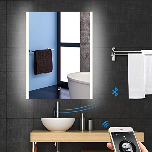 24'' X 32'' LED Bluetooth Bathroom Vanity Mirror, Wall Mounted Lighted Makeup Vanity Bathroom Slivered Mirror with Bluetooth and Antifogging, Touch Button by WillanFS