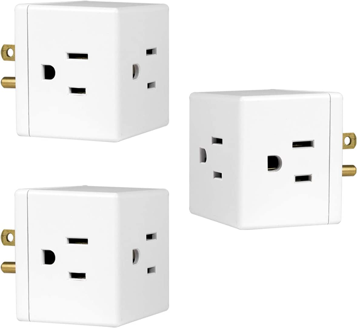 ETL Listed with Phone Charging Station Holder 3 Outlet Wall Adapter Tap Fosmon 3-Prong Grounded Indoor AC Mini Plug White