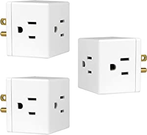 GE Outlet Plug, 3 Pack, 3-Prong, Wall Tap, Adapter, Grounded, Easy Access Design, Indoor Use Only, White, 46845