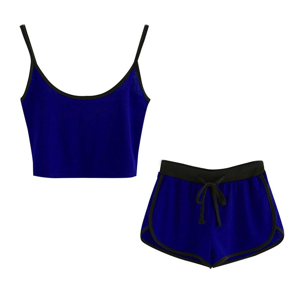 Damen Zweiteiler Piebo Frauen Teenager 2 Teile Sport Set Trainingsanzug Yoga Outdoor Beiläufig Jogging Sportkleidung Crop Tops Bauchfrei mit Sommer Sport Kurze Hose
