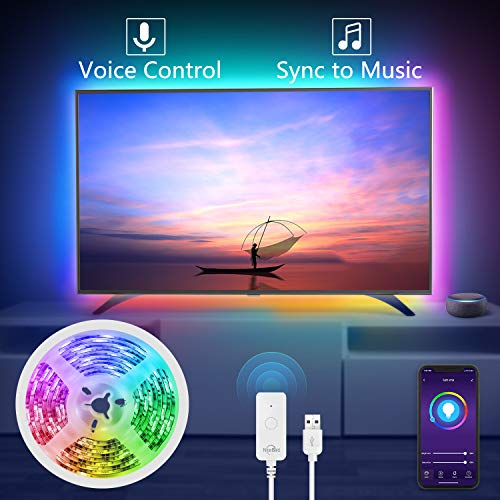 NiteBird Smart TV Backlight Works with Alexa Google Home,Sync to Music WiFi LED TV light 9.2Ft Kit for 32'' to 60'' TV, Waterproof 5050 RGB Strip Light with Controller, Dimmable