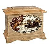 Wood Cremation Urn - Oak Bass Fishing Boat Ambassador