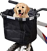 URBEST Bike Basket, Small Pets Cat Dog Folding Carrier, Removable Bicycle Handlebar Front Basket, Quick Releas