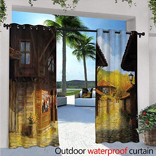 (Ancient Balcony Curtains W84 x L108 Middle Age Wooden Houses on Fall Season Day Ottoman Balkans Traditional Style Print Outdoor Patio Curtains Waterproof with Grommets Brown Blue)