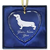Heart Crystal Christmas Ornament - Dachshund Dog - Personalized Engraving Included