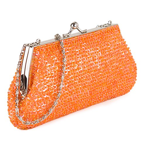 Farfalla 90458 - Bolso estilo sobre de satén mujer Naranja - naranja