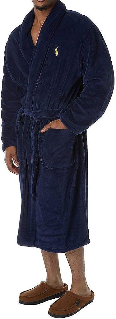 Polo Ralph Lauren Men's Microfiber Plush Long Sleeve Shawl Collar Robe