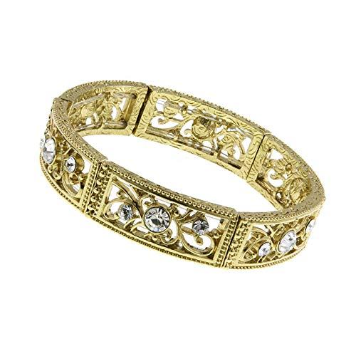 1928 Jewelry Crystal Glass Stone Golden Filigree Bracelet