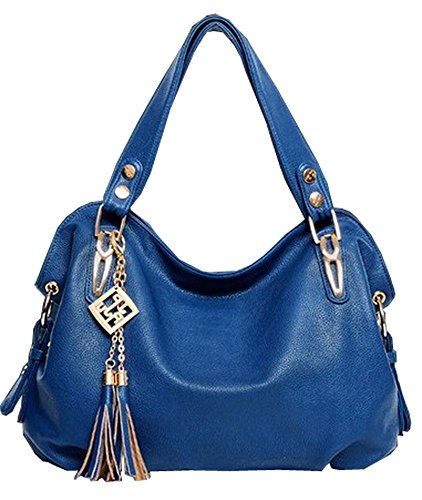 VINICIO Womens Tassel Classical Patent Boutique Leather Handle Handbag(Blue) - Whiting & Davis Patent Leather Clutch