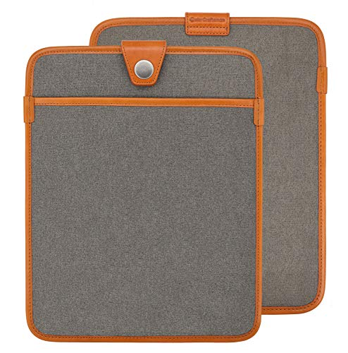 ColorCraftsman Ultra Slim 12.9 Inch Tablet Sleeve Bag for Ipad Pro,360° Protective with Leather Edging,Waterproof Canvas Tablet Carrying Envelope Sleeve fit for 12.9-inch IPad Pro 3rd Generation,Gray