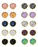 FUNRUN JEWELRY 10 Pairs Druzy Stud Earrings Set for Girls Women Hypoallergenic Round Earrings Pierced