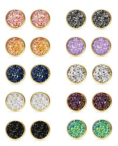 FUNRUN JEWELRY 10 Pairs Druzy Stud Earrings Set for Girls Women Hypoallergenic Round Earrings Pierced